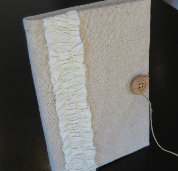 brag book photo album in rustic natural cotton with cream ruffle