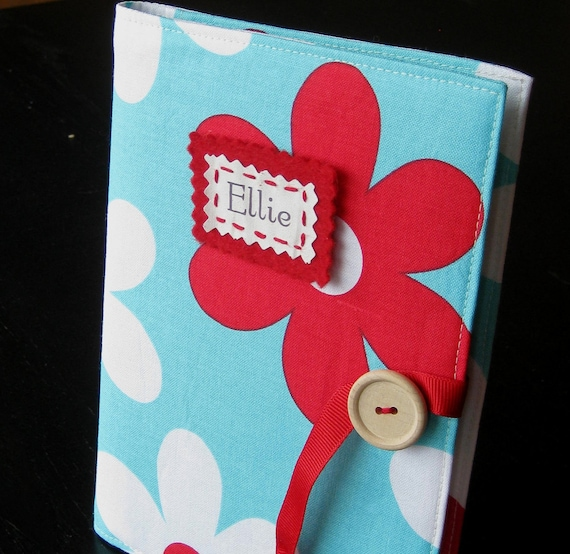 personalized brag book photo album in aqua and red michael miller flowers grandparents gift
