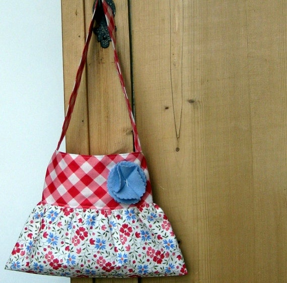 little girls purse toddler handbag tote in gingham and floral