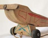 1946 - 1947 Vintage Wooden Airplane Pull Toy by Holgate Toy Company of Pennsylvania