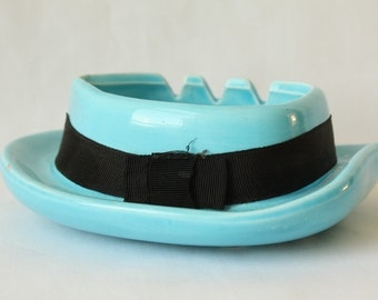 Vintage Ash Tray or Jewelry Tray ~ Napco Ceramic ~ JAPAN ~ Aqua Blue with Black Band