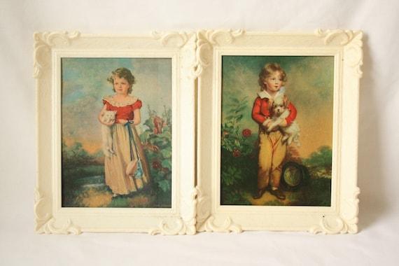 Framed English Art Prints - 8 X 10 - Chums by Jane Freeman and Master Simpson by Arthur W. Davis