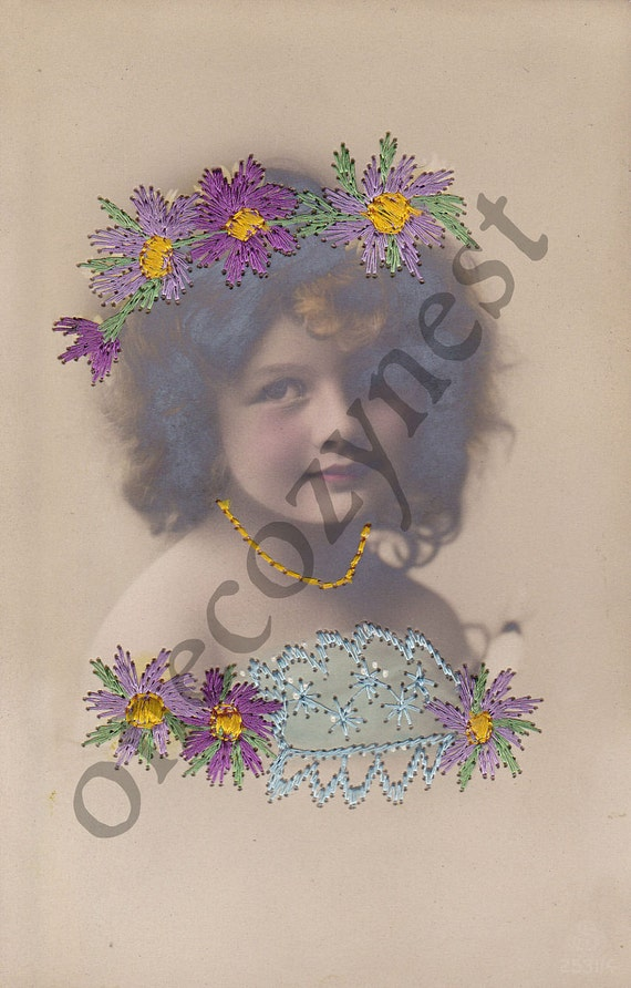 OLD Embroidered Postcard - Victorian Child - Girl - Dress - Flowers - Glamour - Beauty - Early 1900s - German