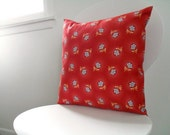 Red with Blue Flowers Pillow