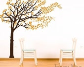 RESERVED - Blowing Tree Wall Decal - Tree with Blowing Leaves Wall Decal - Windy Leaves Vinyl Wall Art Sticker - HT101