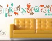 Fun Alphabet Wall Decal A to Z Letters - Vinyl Stickers Owl Lion Train Fire Truck Car Airplane - Vinyl Wall Art Room Decor Sticker - CL101