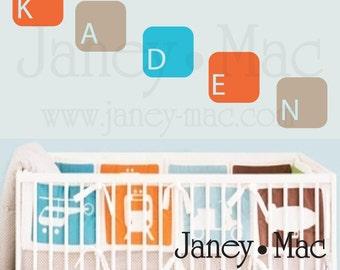 Personalized Name Wall Decal - Modern Vinyl Name Block Squares - Children's Bedroom Nursery - Vinyl Wall Art Name Sticker - CM110