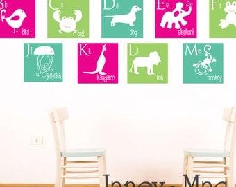 Animal Alphabet Wall Decal - Vinyl Squares A to Z - Vinyl Dog Giraffe Monkey Whale Bird Lion - Vinyl Wall Art Sticker - CL103A