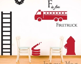 Firetruck Wall Decal - Vinyl Firetuck Firefighter Set - Firetruck Fire Hydrant Fire Hose Emblem Ladder - CB102