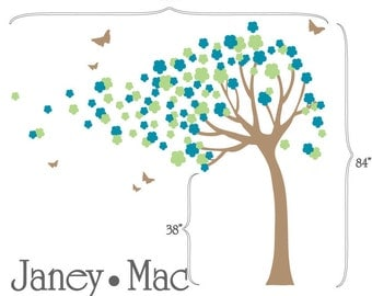 Blowing Tree Wall Decal with Flowers - Vinyl Tree with Flowers and Butterflies - Children's Bedroom Nursery Vinyl Wall Decor Sticker - CT111