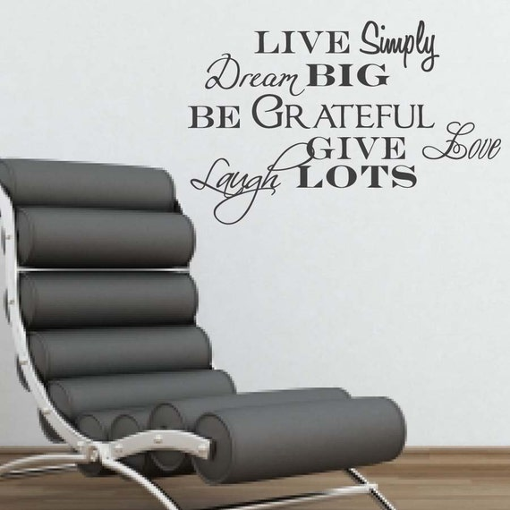 Vinyl wall art live simply dream big be grateful for Live simply wall art