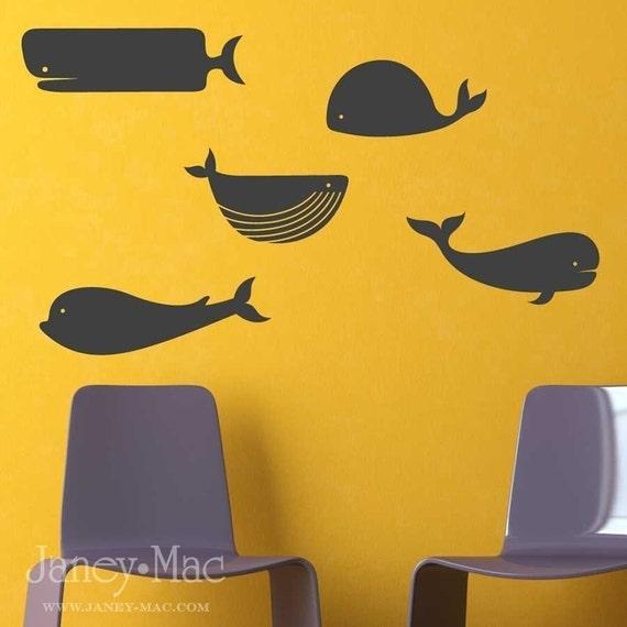 Vinyl Wall Art - 5 Whales-AC118