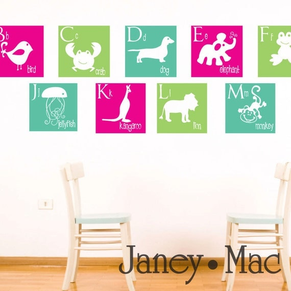 Animal Alphabet Wall Decal - Vinyl Squares A to Z - Vinyl Dog Giraffe Monkey Whale Bird Lion - Vinyl Wall Art Sticker - CL103
