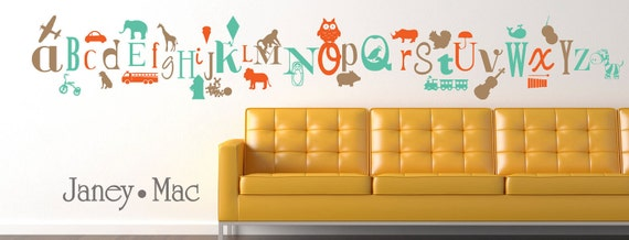 Items similar to Fun Alphabet Wall Decal A to Z Letters