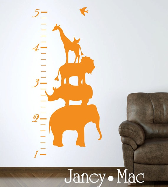 Animal Stack Growth Chart Wall Decal - Safari Jungle Vinyl Wall Art - Elephant Lion Giraffe - CC102