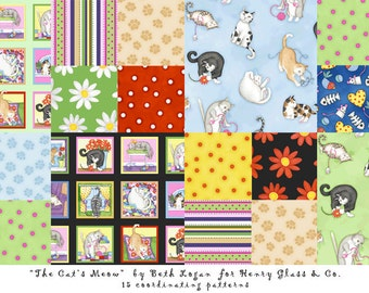 Cat's Meow cotton fabric by the yard