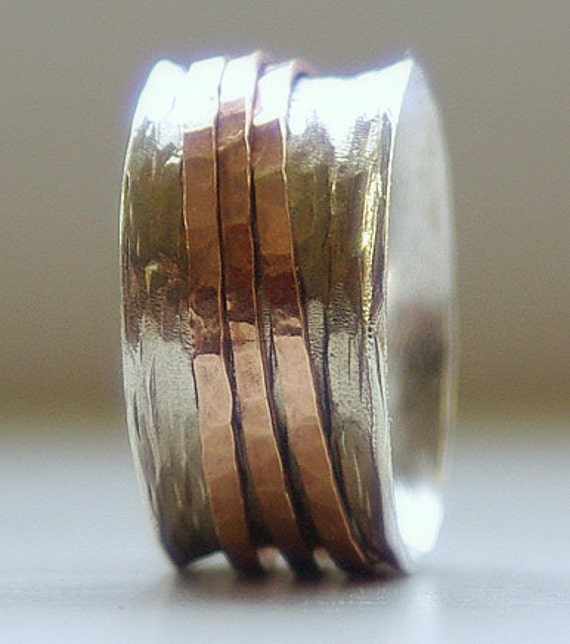 Handmade Unique Earthy Wedding Ring: Rustic Sterling Silver and 14k rose gold fill wide spinner ring- Wedding band- Wedding Bands