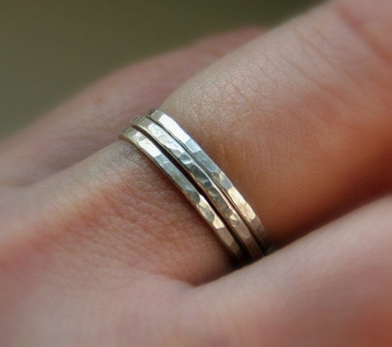 Set of 3 Stacker Rings 16g Sterling Silver Hammered Stackable  Rings