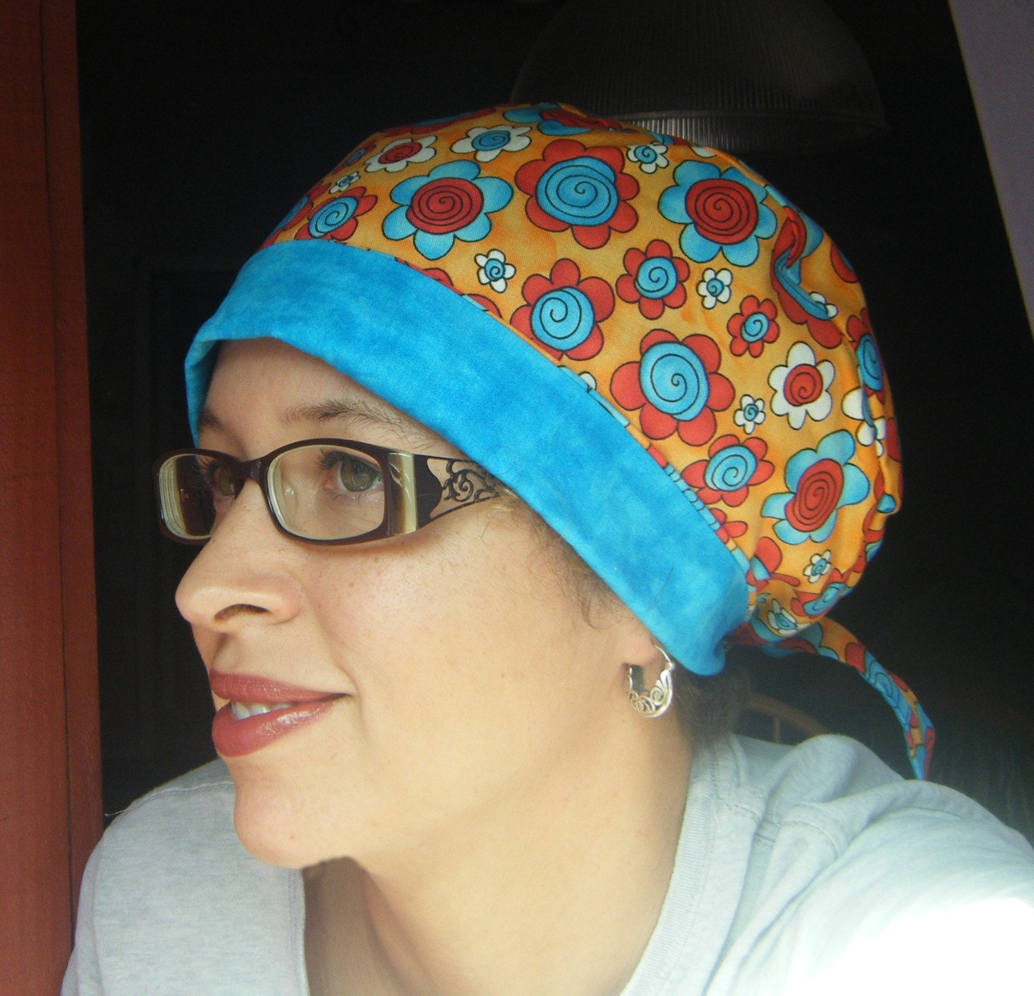 Scrub Hat Sewing Pattern Tieback Chemo Cap by adesignbyangie Sewing Patterns For Chemo Head Scarves