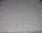 Hand crocheted baby blanket. Christening blanket.Baptism blanket.White color blanket.Pound of Love.Baby Shower gift