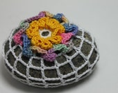 Wiggly Crochet Covered Granite Beach Stone Ruffle Raised Floral and Lace Multi Spring Color Yellow Variegated Cotton Thread