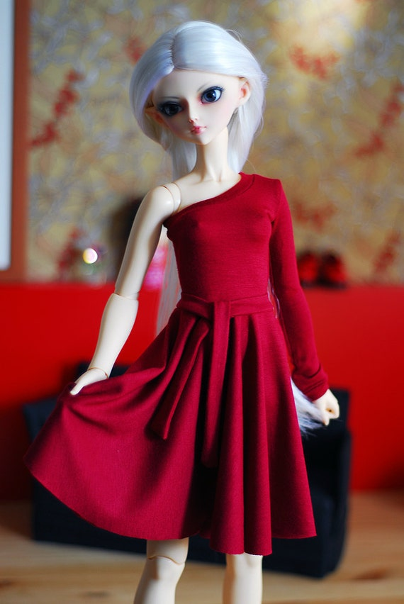 Full circle midi skirt jersey dress in cherry red color for SD Delf BJD dolls