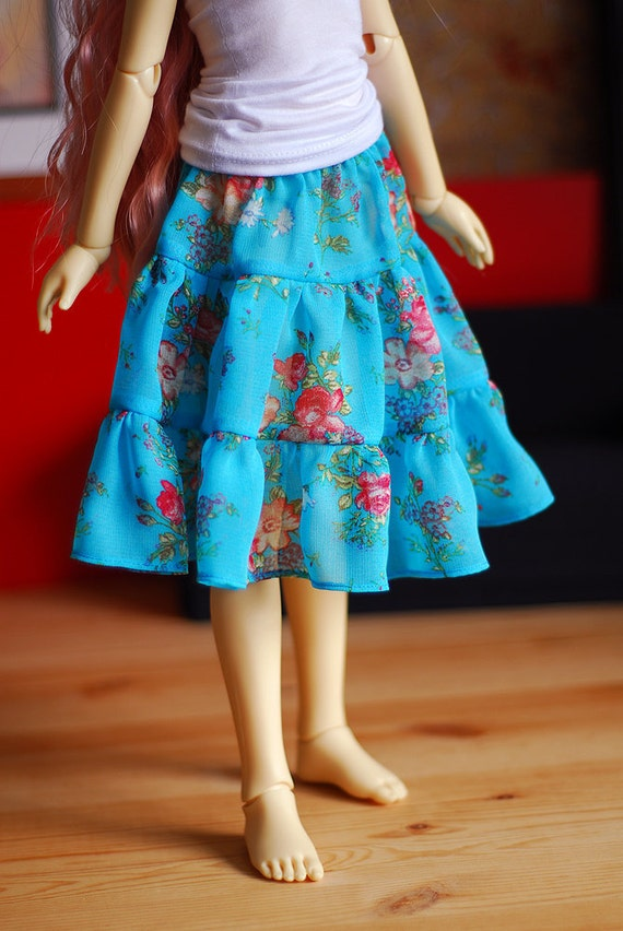 Summer blue chiffon tiered skirt with vintage insired flower pattern for SD Delf BJD dolls