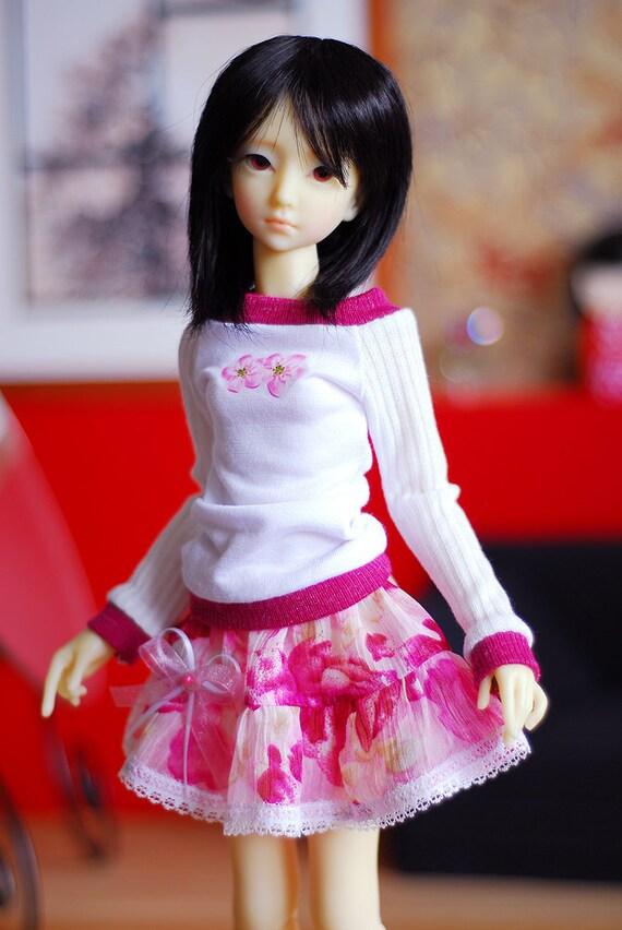 Cozy ballerina pink flowery set for slim mini MSD BJD dolls