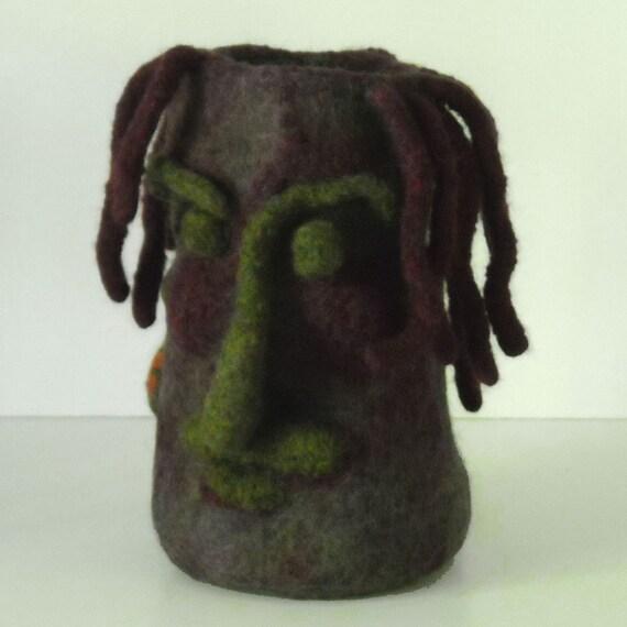 Chameleon Face Vase in Wool Felt