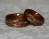Wood Wedding Bands with Crushed Stone Inlay (Bent Wood Method) - Custom Pair