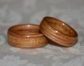 Wood Wedding Bands with Inlay (Bent wood method) - Custom Pair