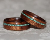 Set of Custom Wooden Rings with Crushed Stone Inlay (Bent Wood Method)