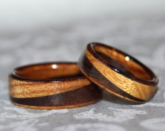 Wooden Rings or Wedding Bands with Diagonal Design (2 rings) Custom Made to Order