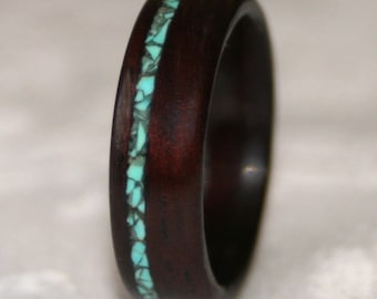 Wooden Wedding Ring, Wood Wedding Band, Wooden Ring with Stone Inlay - Custom - (Pictured: Bois de Rose wood with Turquoise Inlay)