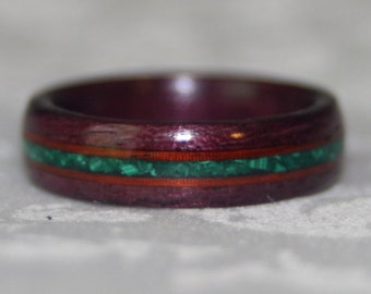 Custom Wooden Ring with Accents and Crushed Stone Inlay (Bent Wood Method; Materials are your choice)