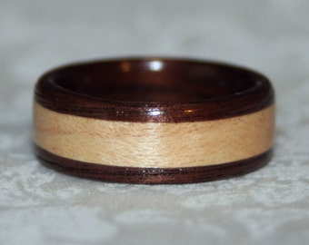 Wooden Wedding Band or Wood Ring with Inlay (Bent Wood Method) - Custom Made