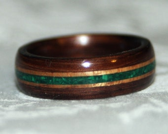 Wooden Ring or Wedding Band with Stone Inlay (Bent Wood Method)