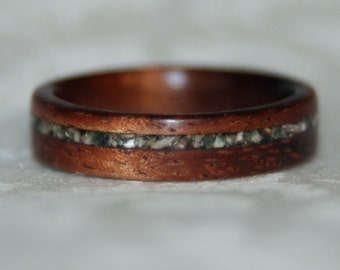 Wooden Ring Or Wedding Band with Crushed Stone Inlay (using the custom materials of your choice)