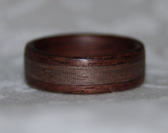 Wooden Ring or Wedding Band with Inlay (using the custom woods of your choice)