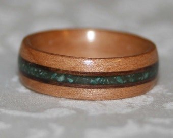 Custom Wooden Ring with Second Wood Accents and Stone Inlay Custom Made to Your Size // Wood Wedding Band // Wooden Ring