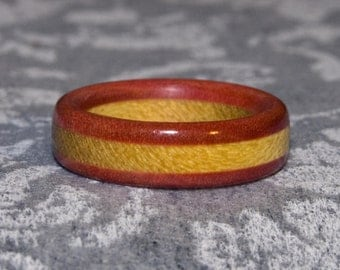 Yellowheart and Pink Ivory Wooden Ring
