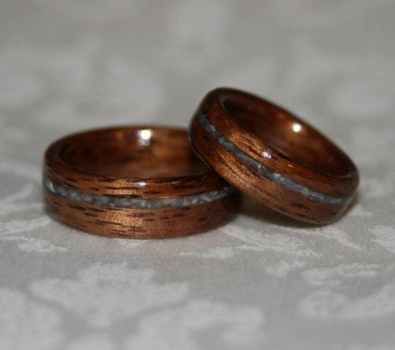 Wood Wedding Bands with Crushed Stone Inlay (Bent Wood Method) - Custom Pair
