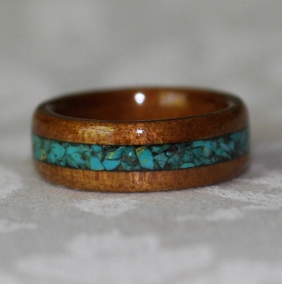 Crushed Gemstone For Inlays : Custom wood ring with crushed stone inlay by mnmwoodworks