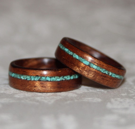 Set of custom wooden rings with crushed stone inlay bent wood for How to make a wooden ring