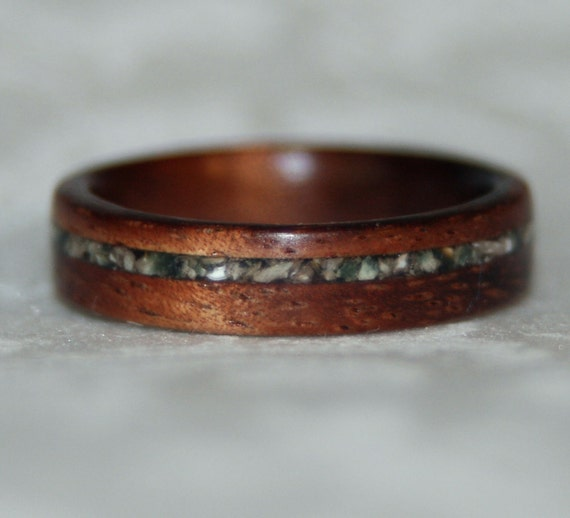 Crushed Gemstone For Inlays : Wooden ring or wedding band with crushed stone inlay using