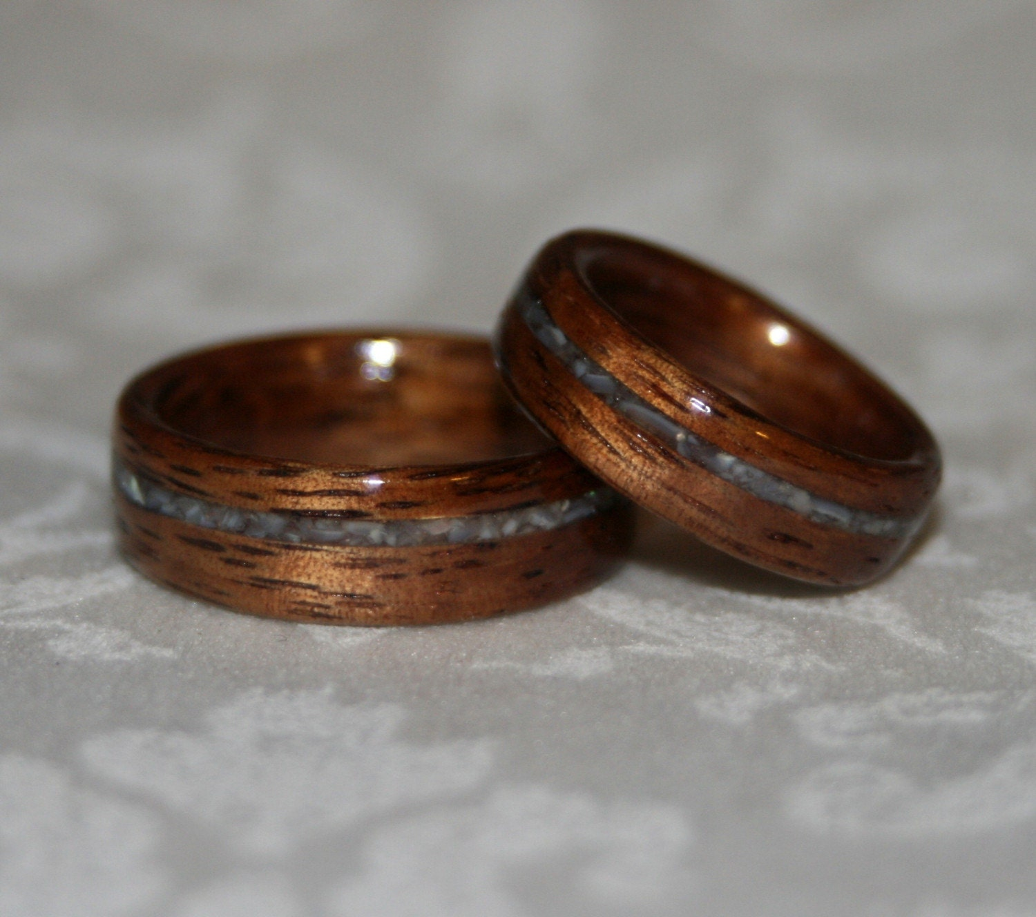 Set Of Custom Wood Wedding Bands With Crushed Stone Inlay
