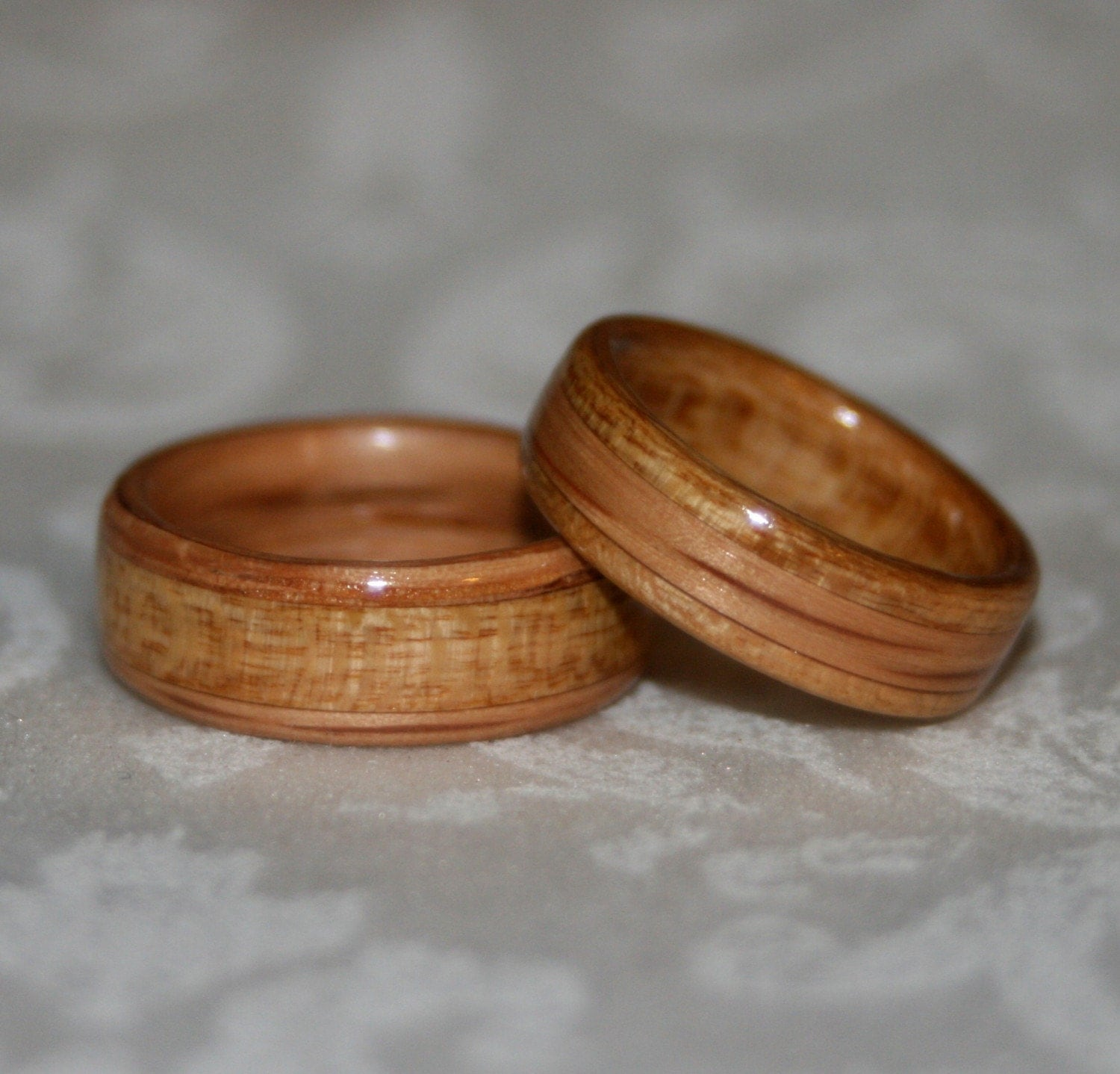wood wedding bands with inlay bent wood method custom pair