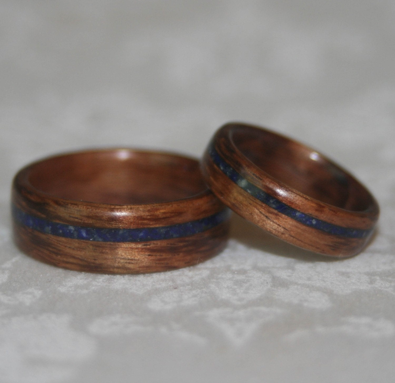 Crushed Gemstone For Inlays : Custom set of wooden rings with crushed stone inlay bent wood