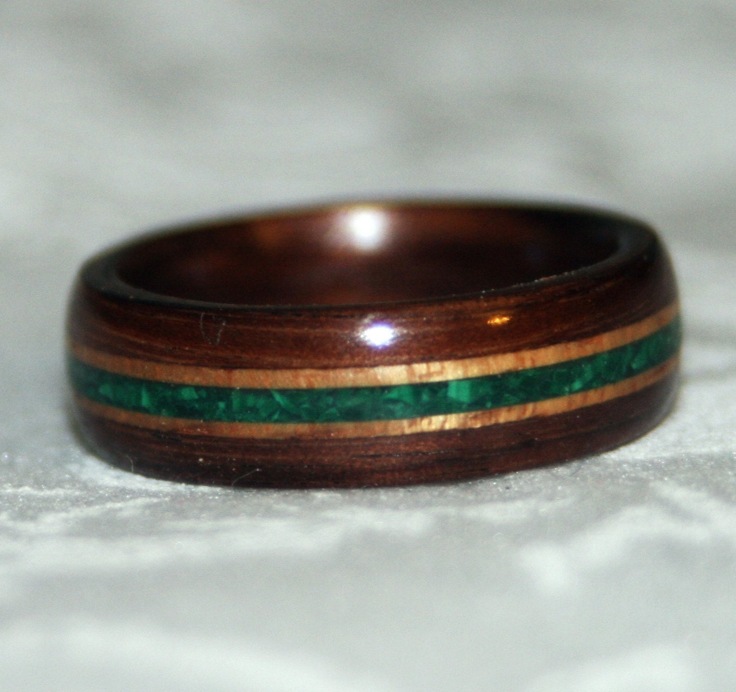 Wooden Ring Or Wedding Band With Stone Inlay Bent By