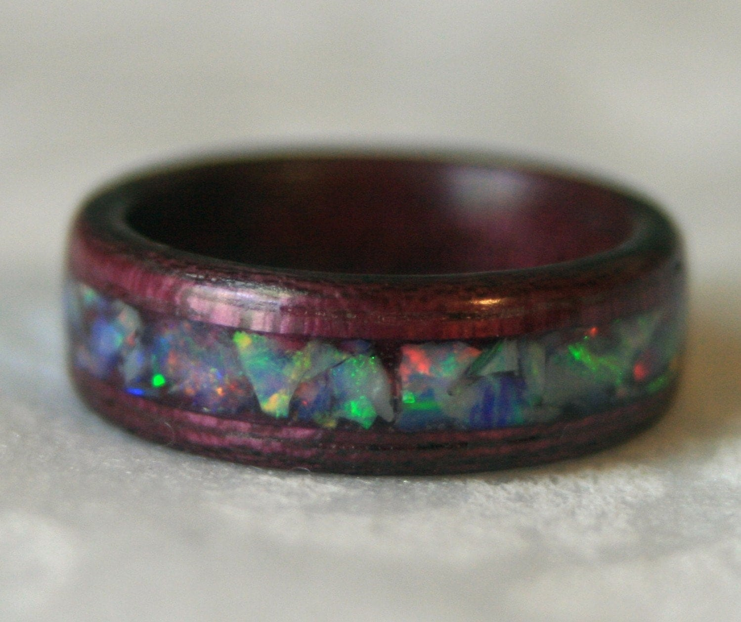 Crushed Amethyst Inlay : Purpleheart wooden ring with opal inlay custom made to your